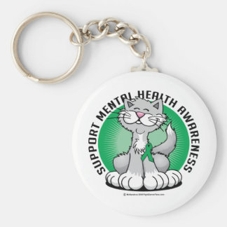 Paws for Mental Health Cat Basic Round Button Keychain