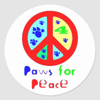 Paws for Peace (Red) Classic Round Sticker