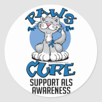 Paws for the Cure ALS Cat Classic Round Sticker