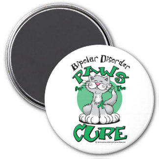 Paws for the Cure Cat Bipolar Disorder 3 Inch Round Magnet