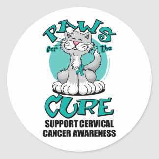 Paws for the Cure Cat Cervical Cancer Classic Round Sticker