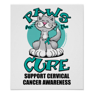 Paws for the Cure Cat Cervical Cancer Poster