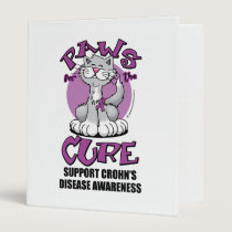 Paws for the Cure Cat Crohn's Disease 3 Ring Binder