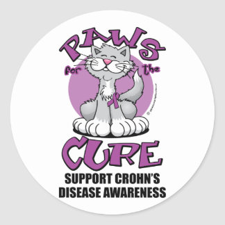 Paws for the Cure Cat Crohn's Disease Classic Round Sticker