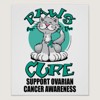 Paws for the Cure Cat Ovarian Cancer Poster