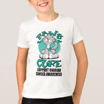 Paws for the Cure Cat Ovarian Cancer T-Shirt