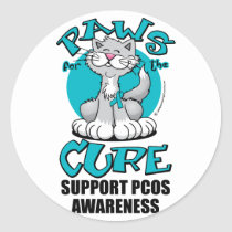 Paws for the Cure Cat PCOS Classic Round Sticker