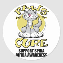 Paws for the Cure Cat Spina Bifida Classic Round Sticker