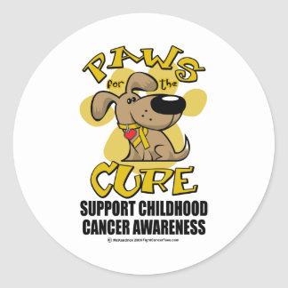 Paws for the Cure Childhood Cancer Classic Round Sticker