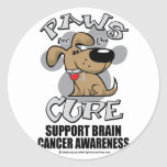 Paws for the Cure Dog Brain Cancer Round Stickers