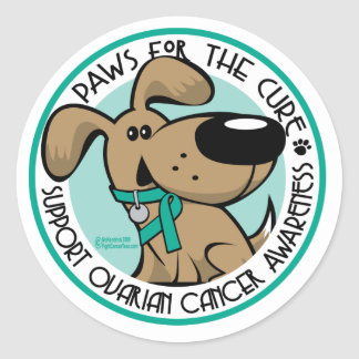 Paws for the Cure Ovarian Classic Round Sticker