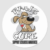 Paws for the Cure Scoliosis Classic Round Sticker