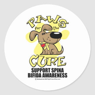 Paws for the Cure Spina Bifida Classic Round Sticker