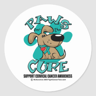 Paws for theCure Cervical Cancer Classic Round Sticker