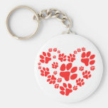 Paws Heart Basic Round Button Keychain