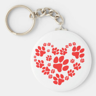 Paws Heart Basic Round Button Keychain