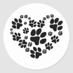 Paws Heart Ronde Stickers