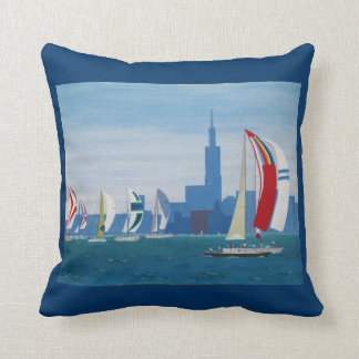 "Paws Here 20""x20"" Pillow ""Lake Michigan-Chicago"""