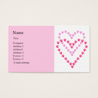 Paws Here Business Card Pink Paw Prints