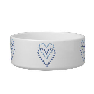 Paws Here Cat Pet Bowl Blue Paw Prints