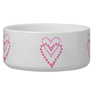 Paws Here Dog Pet Bowl Pink Paw Prints