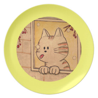 """Paws Here  """"First Flake"""" Yellow Plates"""
