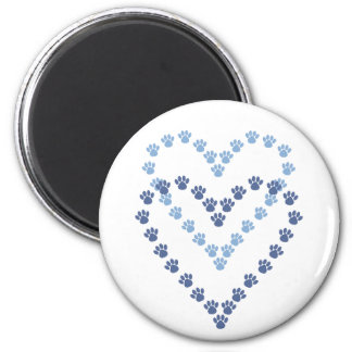 Paws Here  Heart Shaped Paw Prints 2 Inch Round Magnet