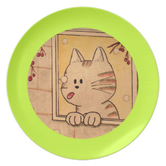 """Paws Here Plate """"First Flake"""" Green"""