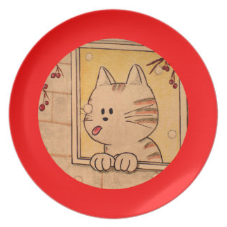 """Paws Here Plate """"First Flake"""" Red"""