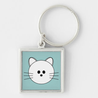 "Paws Here Premium Square Keychain ""Kitty"""