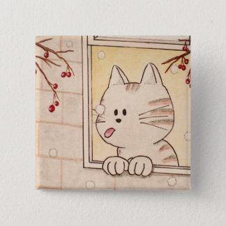 """Paws Here Square Button Pin """"First Flake"""""""