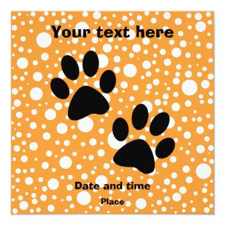 """Paws 5.25"""" Square Invitation Card"""