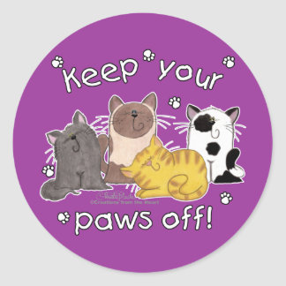 Paws Off! (Cats) Round Stickers