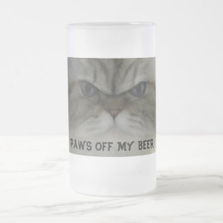PAWS OFF MY BEER FROSTED GLASS BEER MUG