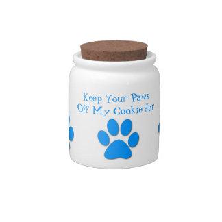 Paws Off My Cookie Jar-Dog Treat Jar-Blue Candy Jar