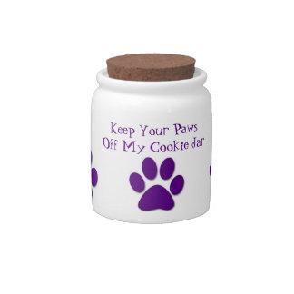 Paws Off My Cookie Jar-Dog Treat Jar-Purple Candy Jar