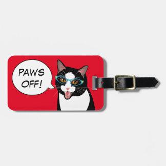 PAWS OFF! Sassy Tuxedo Cat Travel BlissAndKittens Luggage Tag