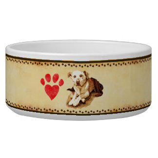 """Paws on Parchment"" Customizable Ceramic Pet Bowl"