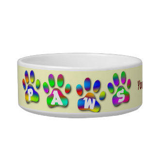 Paws Personalized Dish For Your Pet Dog or Cat