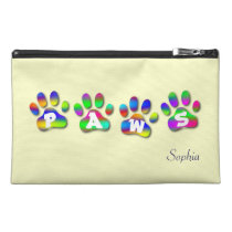 Paws Rainbow Color Paw Prints Accessory Bag at Zazzle