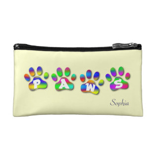 Paws Rainbow Color Paw Prints Small Cosmetic Bag at Zazzle