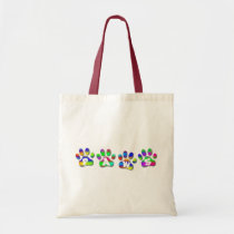 Paws Rainbow Color Pawprints Crafts & Shopping Bag at Zazzle