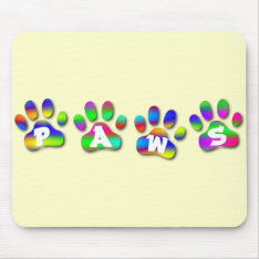 Paws Rainbow Color Pawprints Mouse Pad at Zazzle