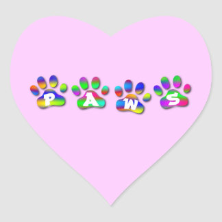Paws Rainbow Color Romantic Pink Heart Sticker