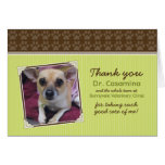 Paws Thank You Card for the Vet (lime green/brown)