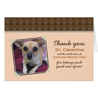 Paws Thank You Card for the Vet (peach/brown)