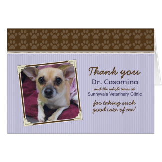Paws Thank You Card for the Vet (purple/brown)