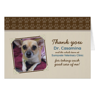 Paws Thank You Card for the Vet (taupe/brown) Greeting Card