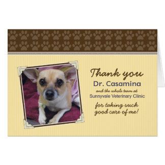 Paws Thank You Card for the Vet (yellow/brown)