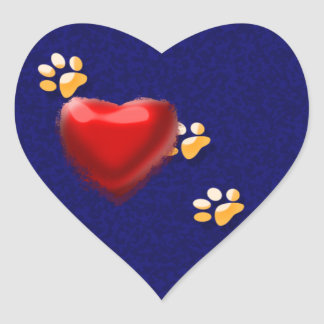 PAWS THROUGH MY HEART HEART STICKER